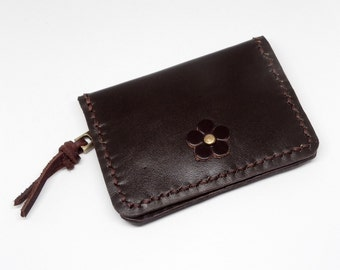 Brown Leather Card Wallet Leather Coin Bag Leather Change purse Hand Stitched Zipper wallet with Snap Button