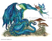 Close Encounter Dragon and fairy 8.5x11 PRINT by Amy Brown