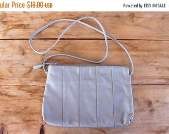 SALE 1980s leather handbag / gray leather minimalist purse / dove grey leather bag
