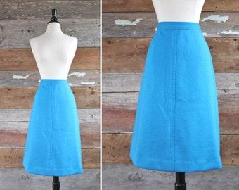 "1960s skirt | Glenayr Kitten | blue wool blend skirt | waist 28"" | 60s high waist skirt"
