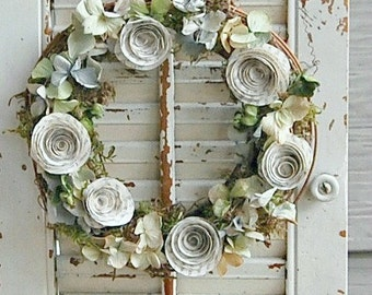 "Petite Dried Hydrangea and Paper Rose Wreath / Shabby Cottage Decor / 8"" Dried flower Wreath"