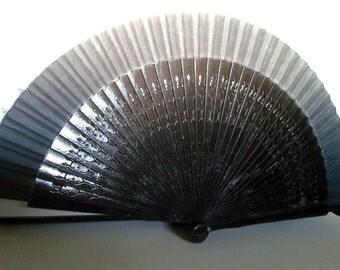 Vintage Fan Black Fabric Fan with Plastic Ribs - Mid 20th Century