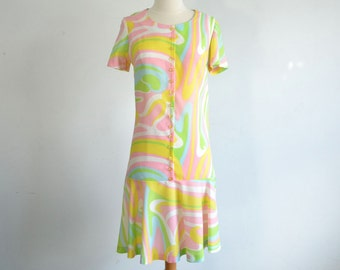 60s Vintage Dress Psychedelic Swirl Print Drop Waist Dress -  medium to large