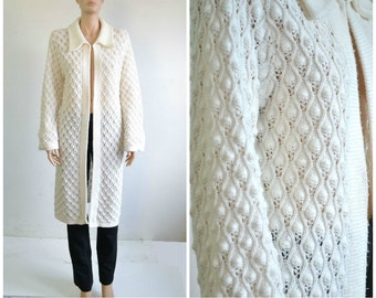 Pointelle Cardigan Sweater Coat 70s Long White Open Front Sweater Bell Sleeve Textured Boho small