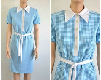 Vintage 60s Dress Shift Shirt Dress Blue and White Checked Plaid  large to extra large