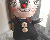 Original Art Stitched Whimsical Kitty Doll - OOAK by miliaart