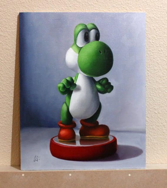Yoshi Amiibo Oil Painting