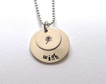 Sterling Silver hand stamped Wish necklace