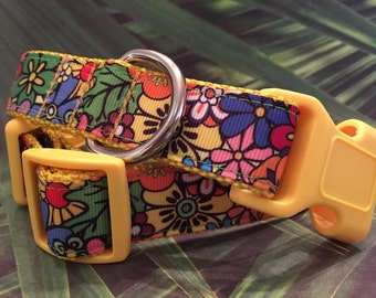 Brightest Flower Dog Collar, Buckle and Webbing Color Choices, In Sizes M, L, XL