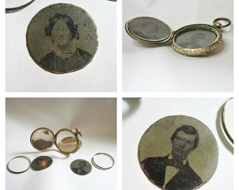 Antique Victorian Locket - Pocket Watch Style - Double Door Opening - Tintypes Man and Woman - 1850s to 1860s
