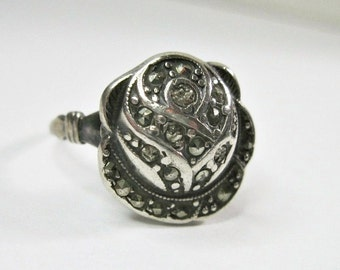 Antique 1920s Art Deco Marcasite Ring - Rose - Sterling Silver - Uncas - Cocktail Ring - Dinner Ring - As Is