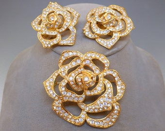 Elizabeth Taylor Rose Brooch Earrings Set