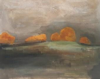 "Original Painting , 16 x 20, Folk art, modern, impressionist, winter, fall, ""October Rain"""