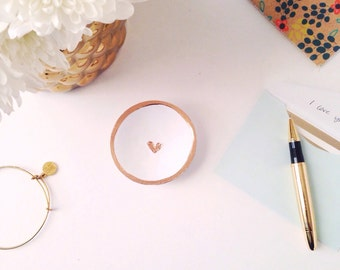 White and Gold Jewelry Dish/Heart Jewelry Dish/Mini Jewelry Dish