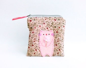 Cat with rose coin purse zipper pouch wallet small floral change purse gift for mom women pouch - Gift for her