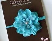 SALE Baby Headband - Turquoise/Aqua Flower Headband - Newborn Baby headband - Infant Headband - Photography Prop
