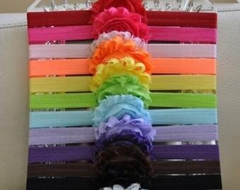 Baby Headbands  - Flower Headband - Newborn Headband - Baby Girl Headband - Toddler Headband - Shabby Chic Rose Flower - 12- Pa