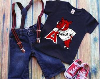 Fall Footbal-Vintage Arkansas Razorback-Children's Shirt-Toddler Shirt-Hog- Woo Pig Sooie-Razorback Christmas Gift