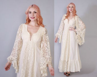 Vintage 70s GUNNE SAX DRESS / 1970s Ivory Cotton & Lace Angel Sleeve Boho Bridal Wedding Maxi Dress