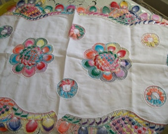 Colorful Crochet and White Cotton Table Runner Tablecloth