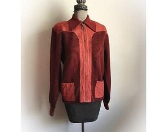 Vintage 1970s Montgomery Ward Orlon and Leather Jacket Sweater Medium