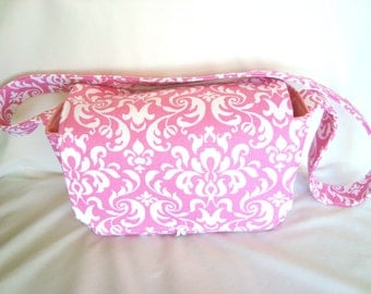 Coupon Organizer Super Size, Budget Organizer Holder Box , Coupon Tote Bag -Attaches to Your Shopping Cart -Pink & White Damask Decor Fabric