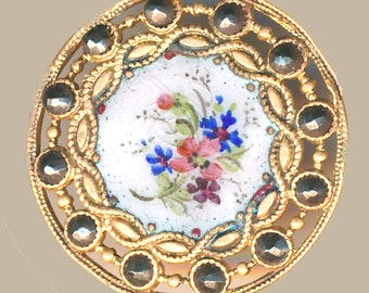 Button--Painterly 19th C. Floral Enamel in Openwork Border--Medium