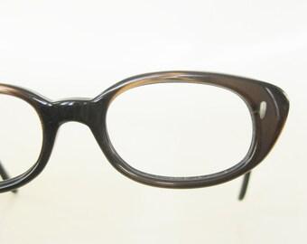 1960s Vintage Eyeglasses Metallic Brown Chocolate Glasses Womens 60s Optical Frames Mid Century Modern Mod Sixties Retro Sunglasses