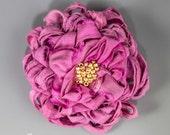 Bright Rose Pink Sari Silk Flower Brooch, Handmade Sari Silk Ribbon Rose Pink Flower Brooch, Pink Sari Silk Flower Brooch, Pink Flower Pin