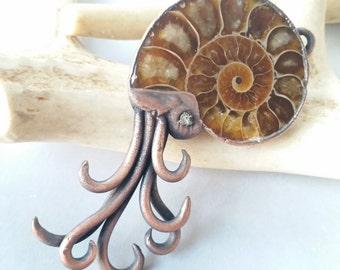 Ammonite Fossil with Raw Diamond Necklace // free shipping!! // Copper Electroformed // Rough