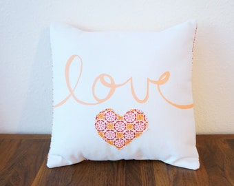 SALE!! Red and Orange 'Love' Pillow Cover (14 inch) (original price: 35.00)