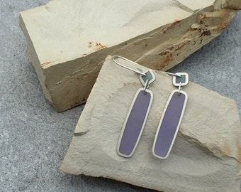 Silver and Resin Dangle Earrings in Spring Blues and Violets/ Spring Drop Earrings