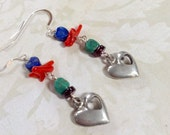 Heart Me Pewter, Silver And Lapis Lazuli Earrings