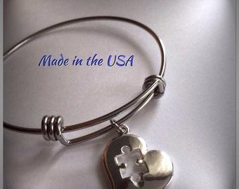 Autism bangle charm bracelet
