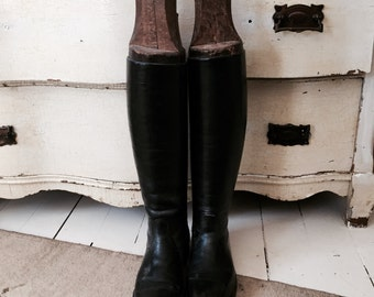 French Riding boots, all leather, 1900's wood liners