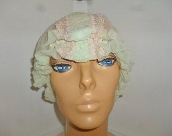 Antique - Sheer - Mint Green -  Tulle - Antique Lace  - Bonnet - Hat - Nightcap