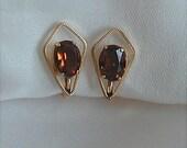 Van Dell 12K GF Amber Earrings