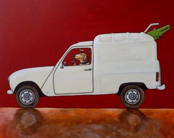 154 Renault 4 - folded art card 15x15cm/6x6inch with envelope