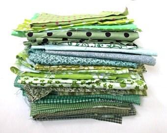 FABRICS Green Textiles Assorted Fabrics 3.5 pounds Material Remnants Scraps Quilting Fabrics Lot Sewing Craft Art Cut Cottons Supply Sale