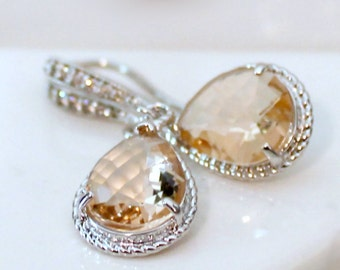 Blush and Crystal Teardrops Set in Silver on Jeweled French Earrings and a Silver-Filled Necklace, Earring and Necklace Jewelry Set
