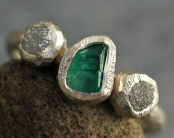Raw Colombian Emerald and Rough Diamonds on Recycled 14k White Gold Ring- Hammered Band