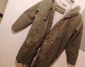 vintage army green cotton military drab canvas oversized parka sherpa fleece lined marines navy super warm jacket coat womens xs-m slouchy