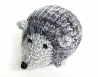 """Woodland Stuffed Animal Toy, Hand Knitted Little Hedgehog Stuffed Toy, Ready To Ship, Amigurumi Knit Toy Porcupine Baby Boy Gift 4 3/4"""" Long"""