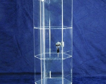 "Large Three Level Rotating Acrylic Showcase With Locking Door 19"" Tall  SALE"