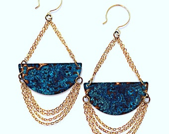 Verdigris Midnight Chandelier Earrings