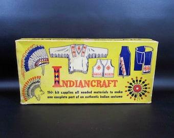 "Vintage 1960's Boy Scouts ""Indiancraft"" War Bonnet Headdress Kit"