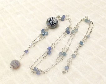 ValVaaniaLampwork Sterling Silver and Green Fluorite Shaded Smooth Box Gems Wire Wrapped Long Necklace with Butterfly Lampwork Marble