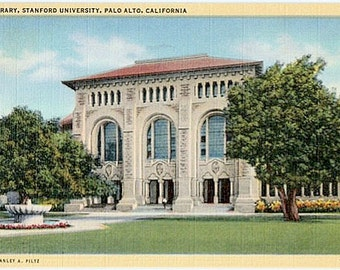Vintage California Postcard - Library at Stanford University (Unused)