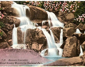 Vintage Postcard - Ramsey Cascades in the Great Smoky Mountains (Unused)