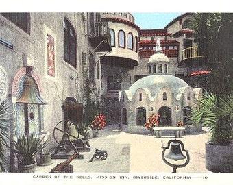 Vintage California Postcard - Garden of the Bells at Mission Inn, Riverside (Unused)